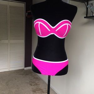 Neon Pink and White Bikini Two Piece Bathing Suit